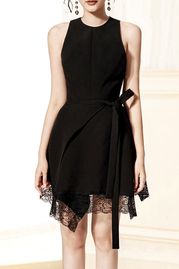 O Neck Sleeveless Lace Mini Dress