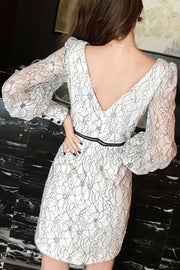 Lace Long Sleeve Bodycon Dress - White