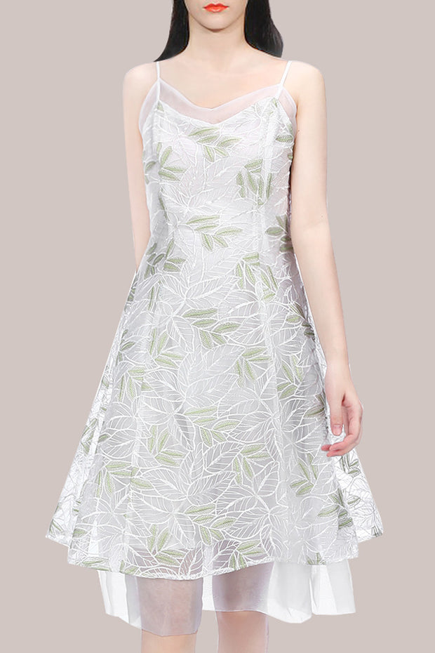 Leaf Embroidery Strap Dress