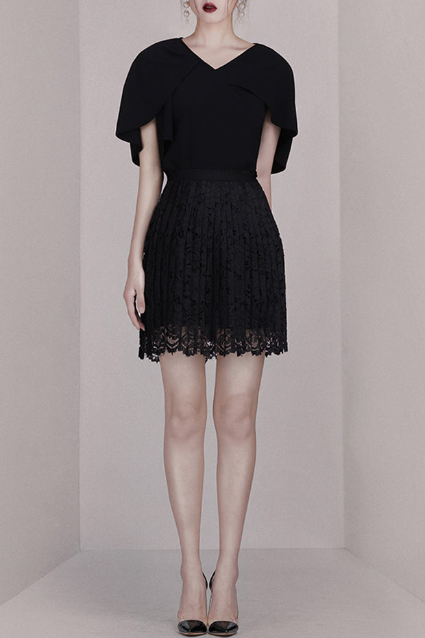 Lace Mini Dress- Black
