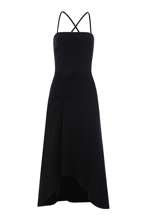 Strap Backless A- Line Dress- Black