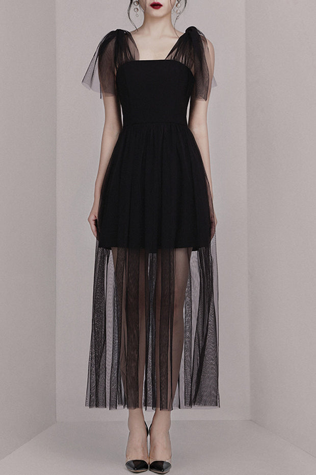 Strap Lace Up Mesh Dress- Black