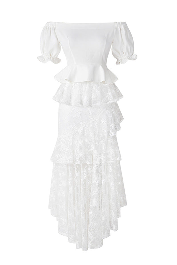 Lace Two Pieces Sets Dress- White