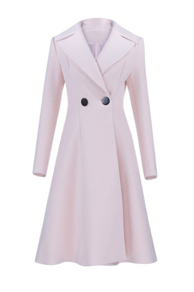 Lapels Woolen Maxi Coat Dress-Pink