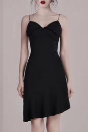 Bow Neck Strap Mini Dress- Black