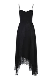 Lace Strap Dress- Black