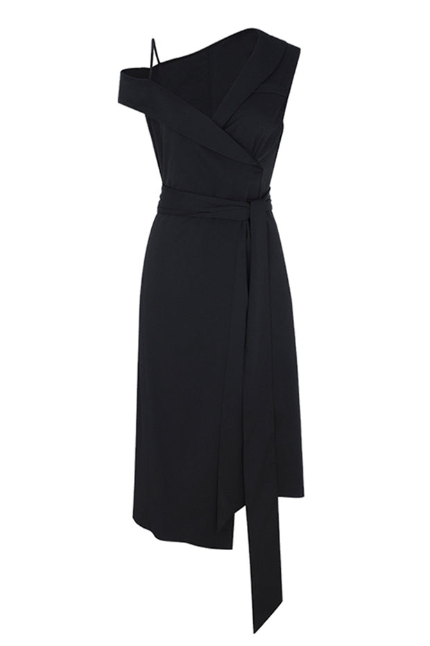 Off The Shoulder Strap Dress- Black
