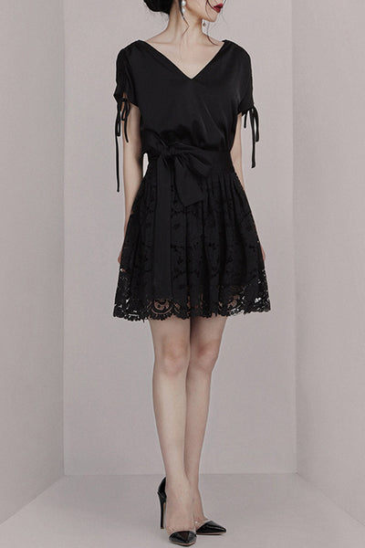Short Sleeve V Neck Mini Dress- Black