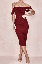 Off Shoulder Draped Bodycon Dress
