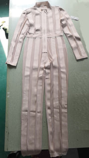 Long Sleeve V Neck Stripe Full Pants Jumpsuits