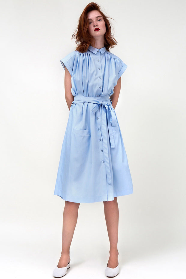 Office Lady  Casual Dress Mid-Calf A-Line With Belt Summer Dress