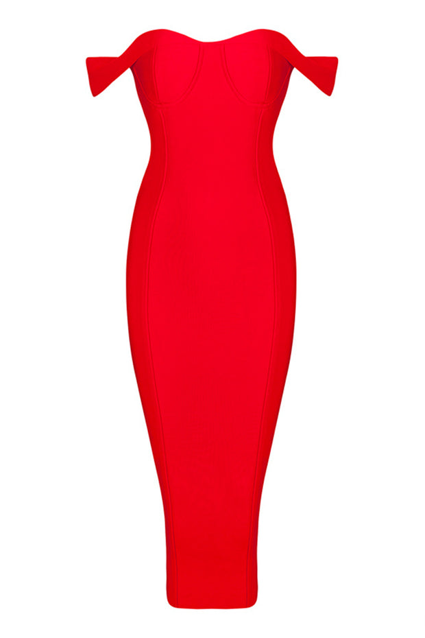 Bardot Sweetheart Midi Bandage Dress