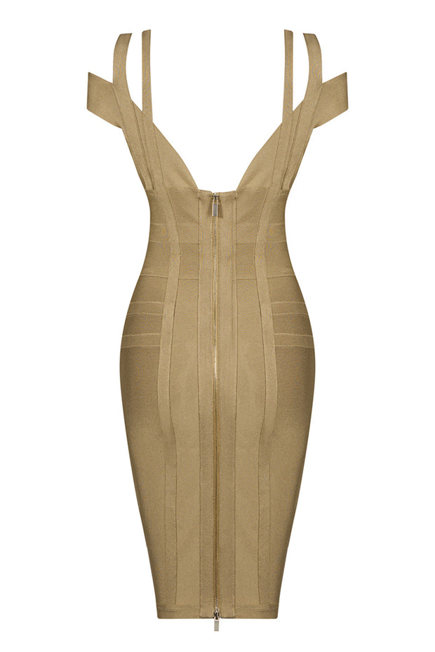 Strap Bardot Bandage Midi Dress