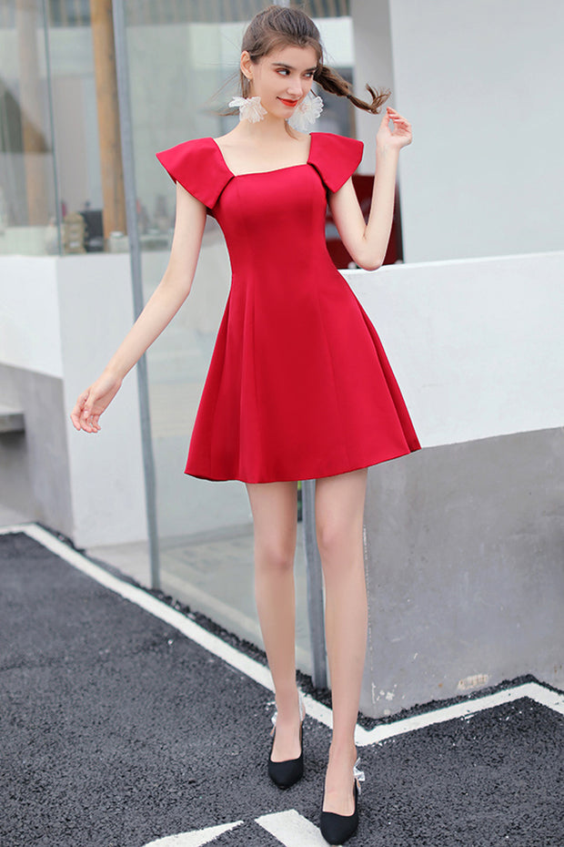 Sexy A-Line Mini Dress -Red