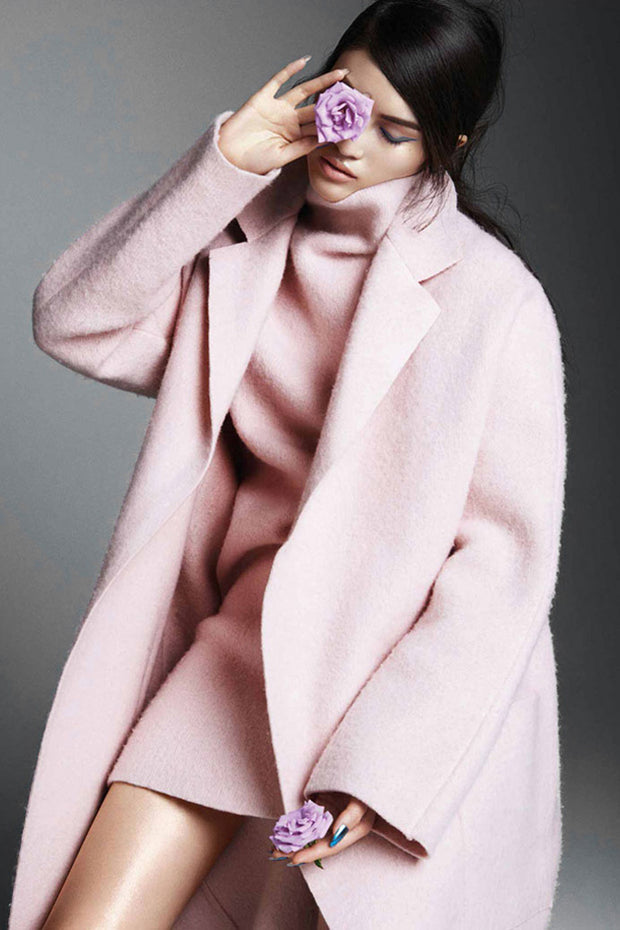 Winter Turn-down Collar Loose Pink Woolen Coat Jackets