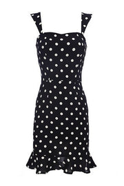 Dot Print Strapless Bodycon Mini Dress - Black