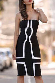 Black Strapless Bandage Midi Dress