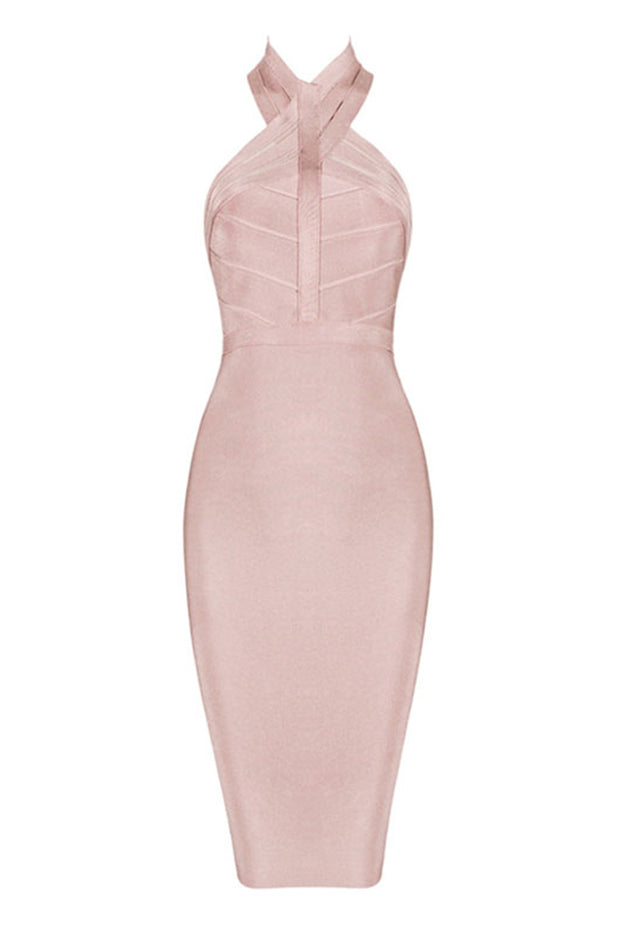 Halter Backless Bandage Bodycon Midi Dress
