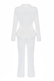Long Sleeve V Neck Jacket Button Flare Leg Pant Fashion Set White