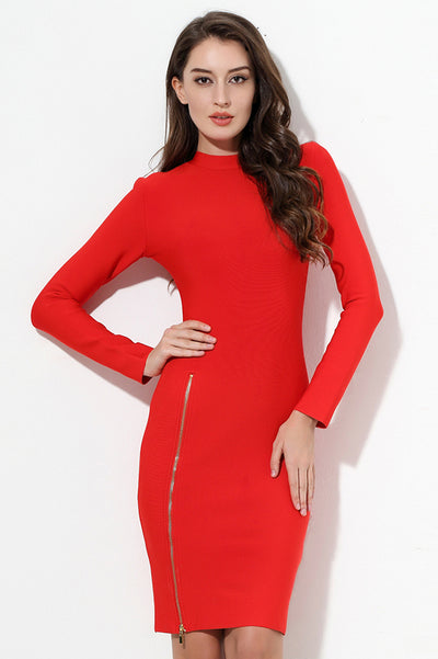 Solid Zippers Long Sleeve Red Zipper Cut Out Sexy Dress