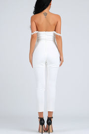 Lace Off The Shoulder Jumpsuit -White