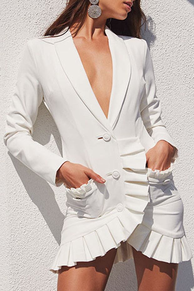 White Deep V Frill Long Sleeve Blazer Mini Dress