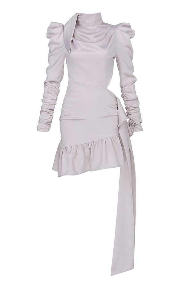 High Neck Long Sleeves Pleats Asymmetrical Ruffle Dress