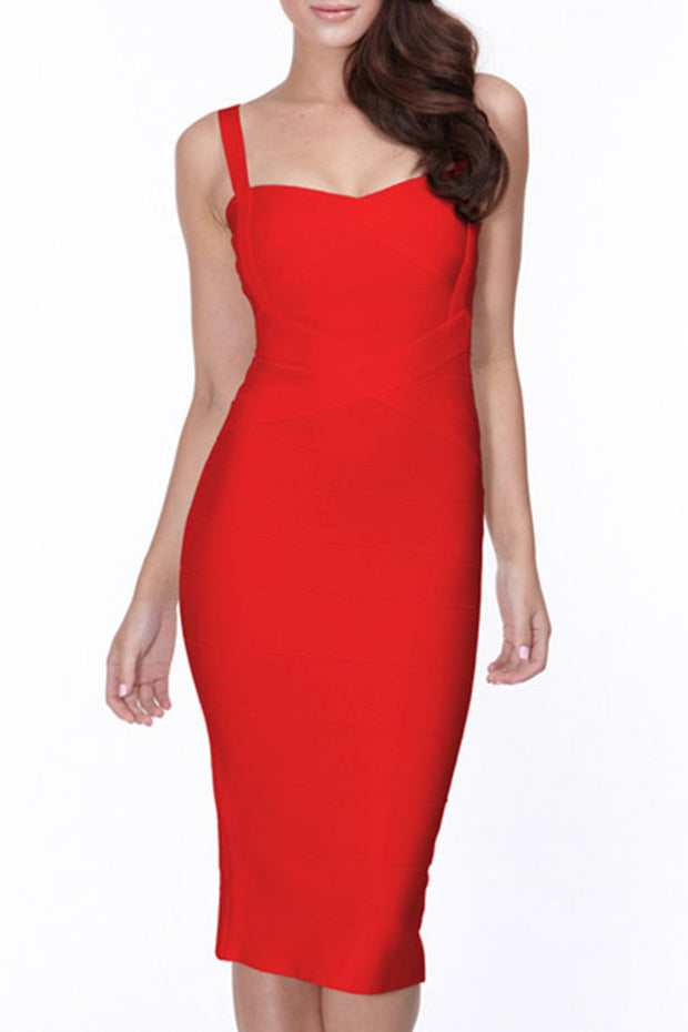 Crisscross Sleeve Bandage Midi Party Dress