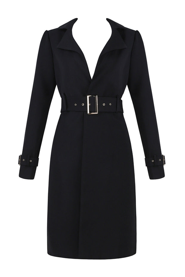 Long Sleeve Jacket Coat - Black