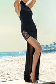 Halter Sleeveless Backless Slit Maxi Dress