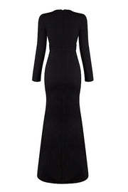 Long Sleeve Hollow Out Bodycon Gown-Black