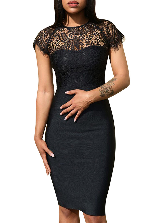 Lace Bodycon Bandage Dress-Black
