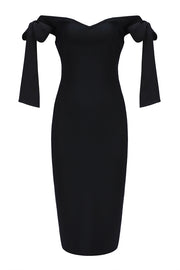 Off Shoulder Knee-Length Black Bandage Midi Dress