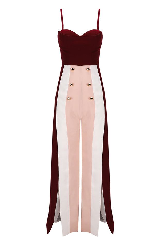 Spaghetti Strap  Empire Slit Wide leg pants Jumpsuits