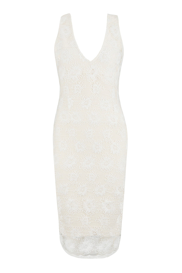 White Plunge Floral Lace Bandage Midi Dress