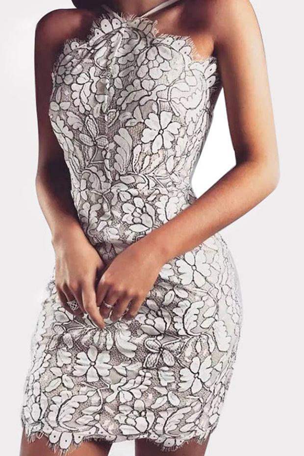 Halter Floral Lace Scalloped Bandage Mini Dress
