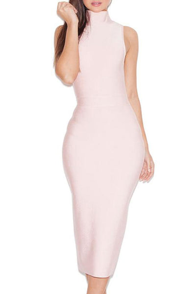 High Neck Sleeveless Bandage Dress