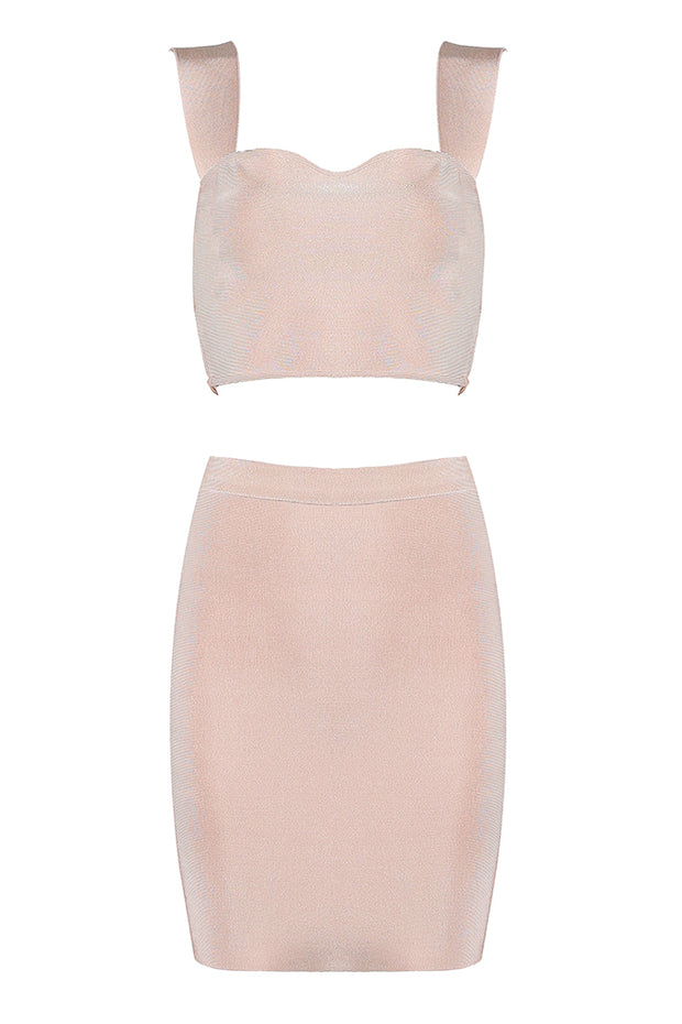 Solid Color Square Neck Bandage Crop Top And Mini Skirt