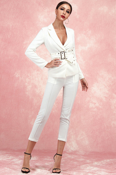 Alexa Rivet Belt Two Piece Sets Suit