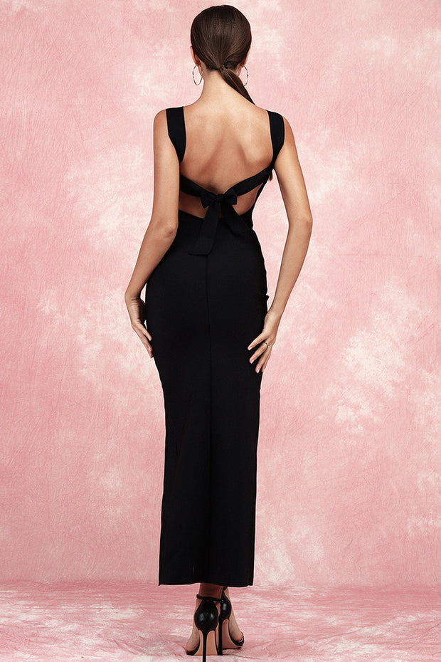 Alberta Sling Backless Bandage Dress-Black