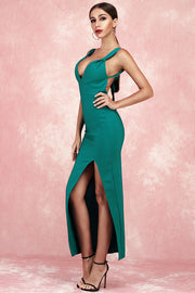 Alberta Sling Backless Bandage Dress-Green