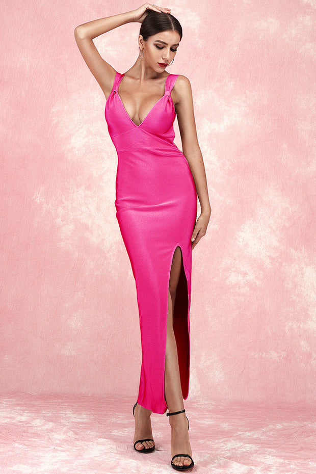 Alberta Sling Backless Bandage Dress-Rose Red