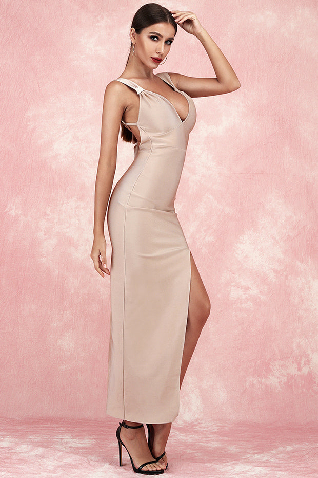 Alberta Sling Backless Bandage Dress-Apricot Pink