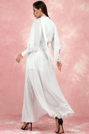 Alexa Chiffon Sequined Dress-White