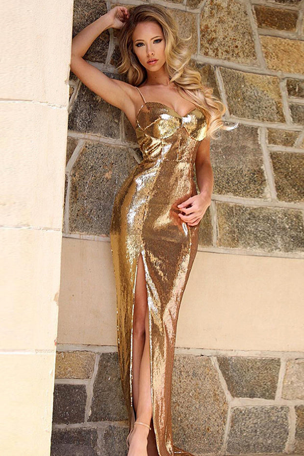 Spaghetti Strap Backless Gold Sequined Maxi Dress