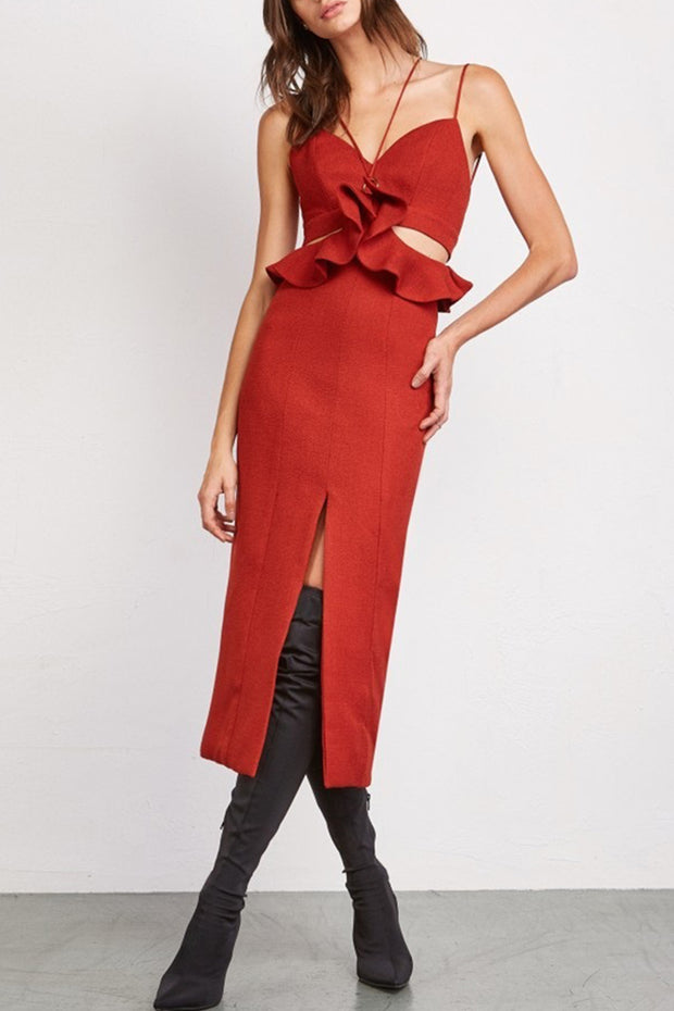 Spaghetti Strap Ruffle Bandage Red Midi Dress