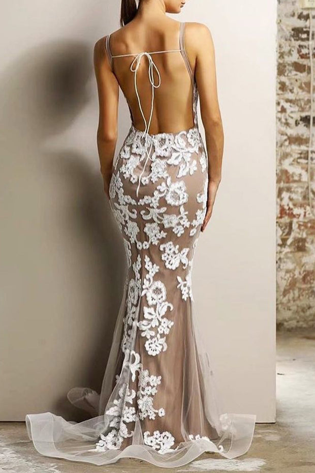 Deep V Backless Lace Sexy Mermaid Bodycon Prom Dress