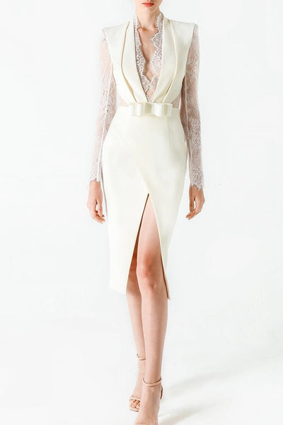 White Deep V Lace Long Sleeve Front Slit Women Bodycon Dress