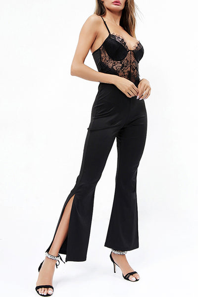 Sexy Lace Sling Jumpsuit - Black