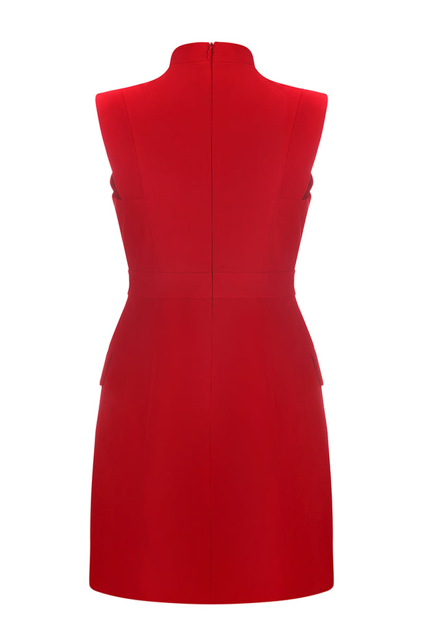 Sleeveless Deep V Sexy Buttoned Detail Bodycon Women Mini Dress